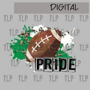 Green White Cheetah Splatter Football Pride Sublimation Printable File