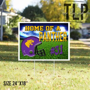Home of a Panther Football Yard Sign