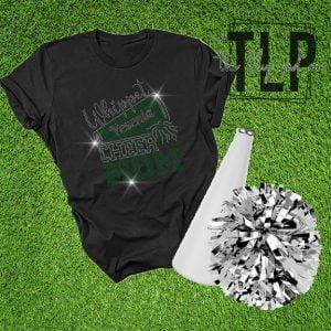 Whippet-Greyhound Cheer Mom Spangle Bling Shirt