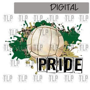Dark Green and Gold Volleyball Sublimation Printable File