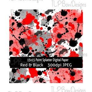 Red and Black Splatter Digital Paper-Sublimation File or Printable File